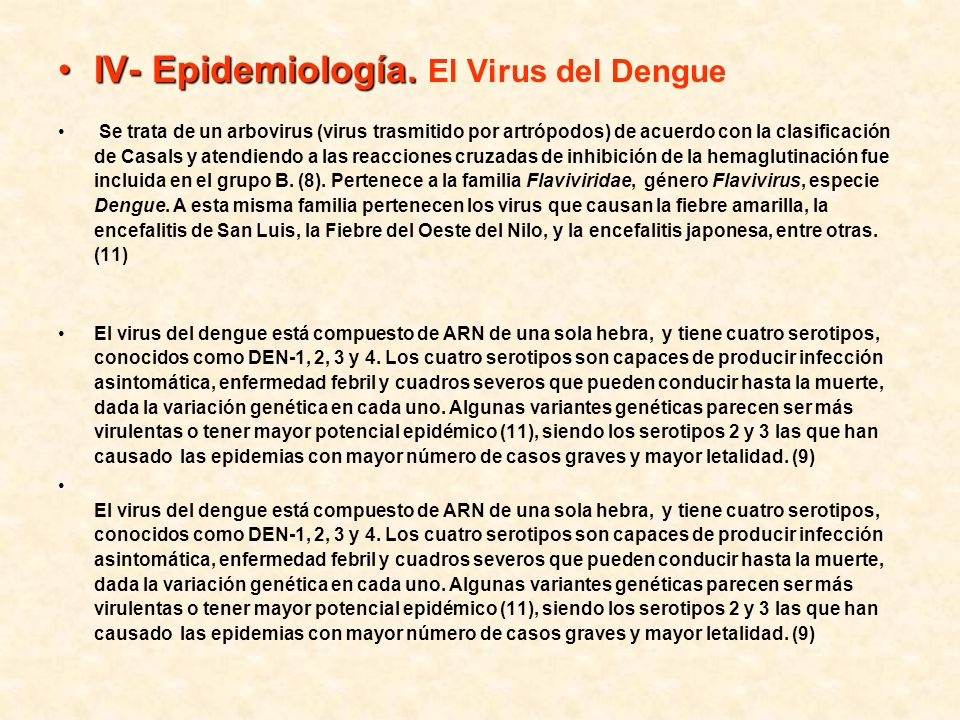 IV- Epidemiología. El Virus del Dengue