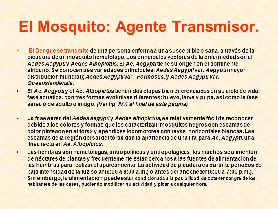 El Mosquito: Agente Transmisor.