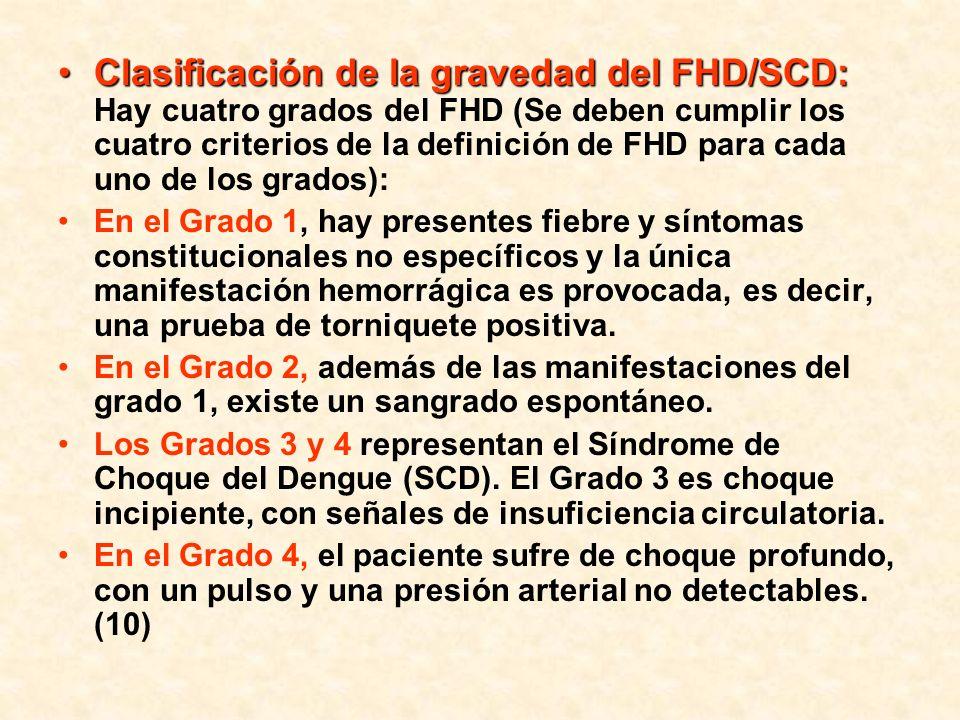 Clasificación de la gravedad del FHD/SCD: Hay cuatro grados del FHD (Se deben cumplir los cuatro criterios de la definición de FHD para cada uno de los grados):