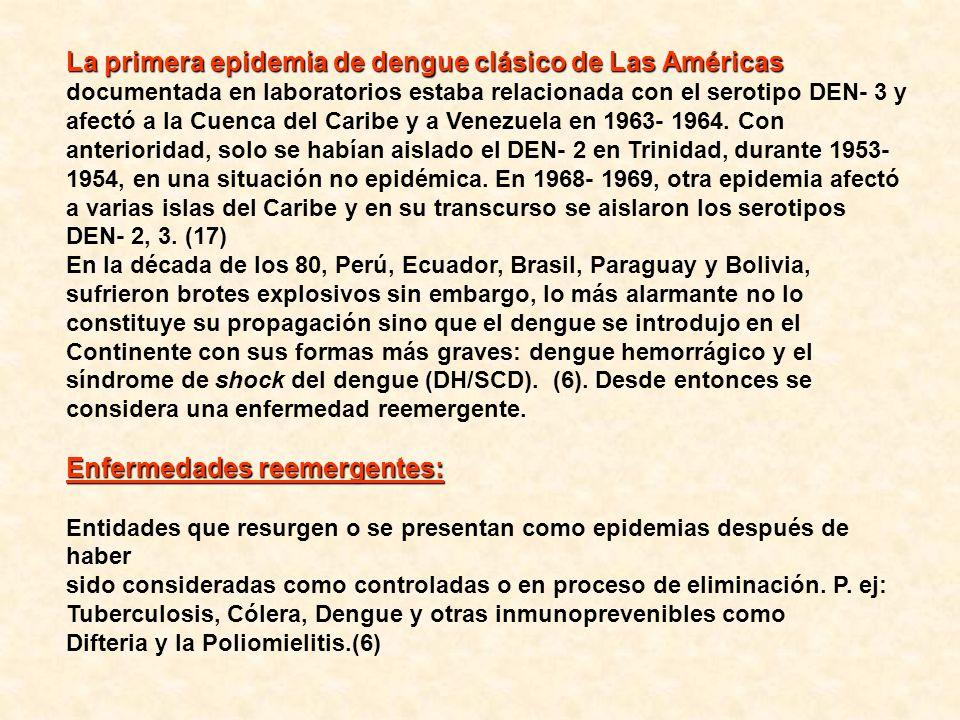 La primera epidemia de dengue clásico de Las Américas documentada en laboratorios estaba relacionada con el serotipo DEN- 3 y afectó a la Cuenca del Caribe y a Venezuela en 1963- 1964. Con anterioridad, solo se habían aislado el DEN- 2 en Trinidad, durante 1953- 1954, en una situación no epidémica. En 1968- 1969, otra epidemia afectó a varias islas del Caribe y en su transcurso se aislaron los serotipos DEN- 2, 3. (17)