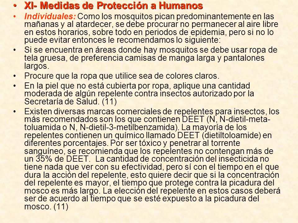 XI- Medidas de Protección a Humanos
