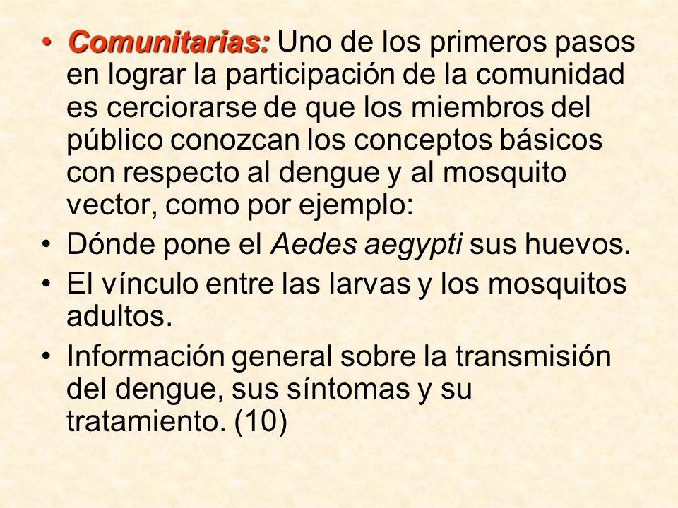 Comunitarias: Uno de los primeros pasos en lograr la participación de la comunidad es cerciorarse de que los miembros del público conozcan los conceptos básicos con respecto al dengue y al mosquito vector, como por ejemplo: