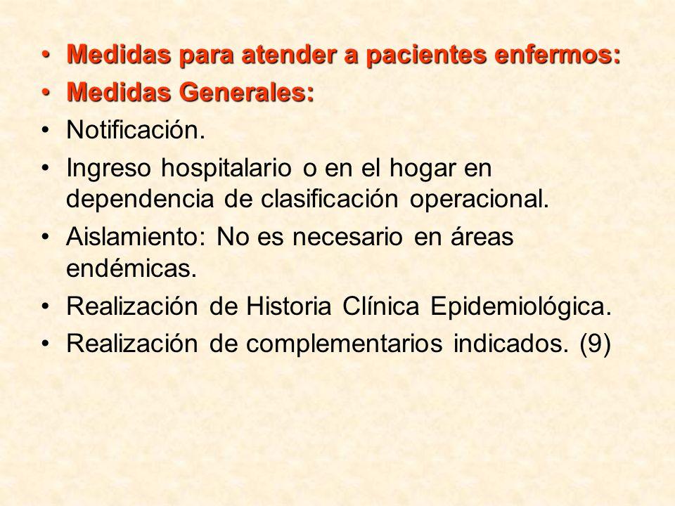 Medidas para atender a pacientes enfermos: