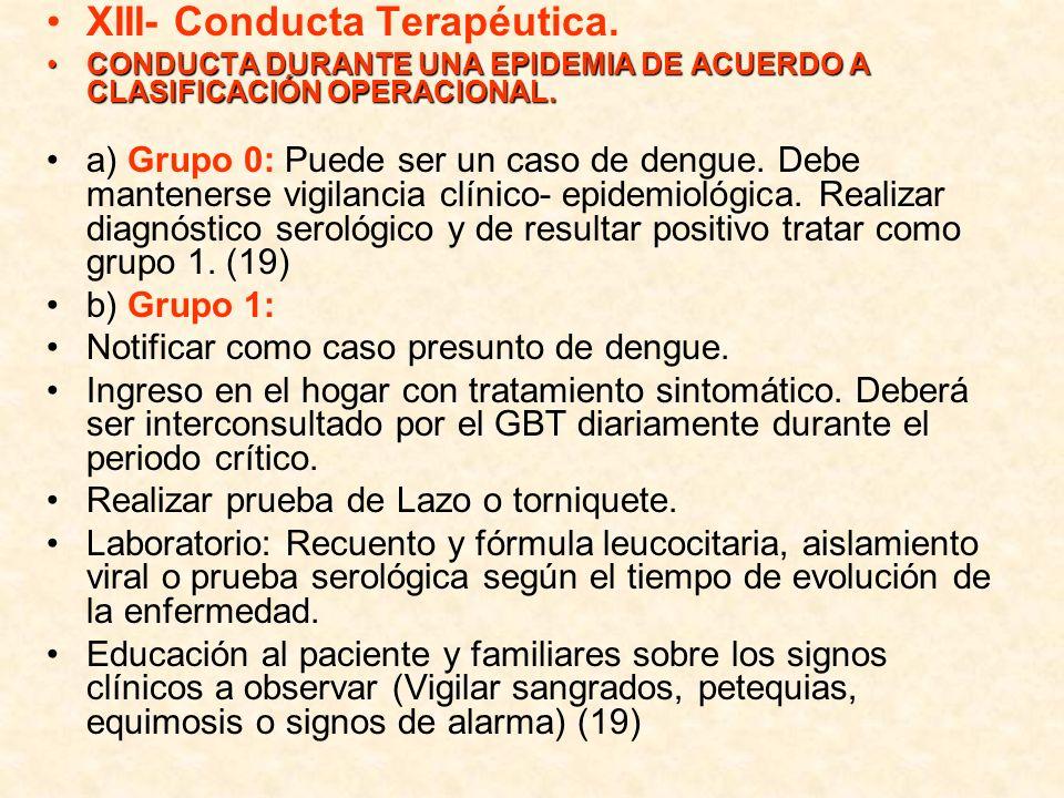 XIII- Conducta Terapéutica.