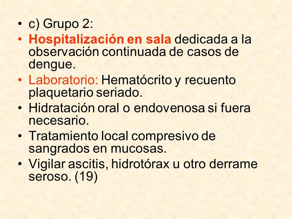 c) Grupo 2: Hospitalización en sala dedicada a la observación continuada de casos de dengue.