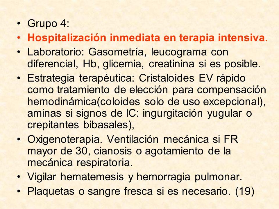 Grupo 4: Hospitalización inmediata en terapia intensiva.