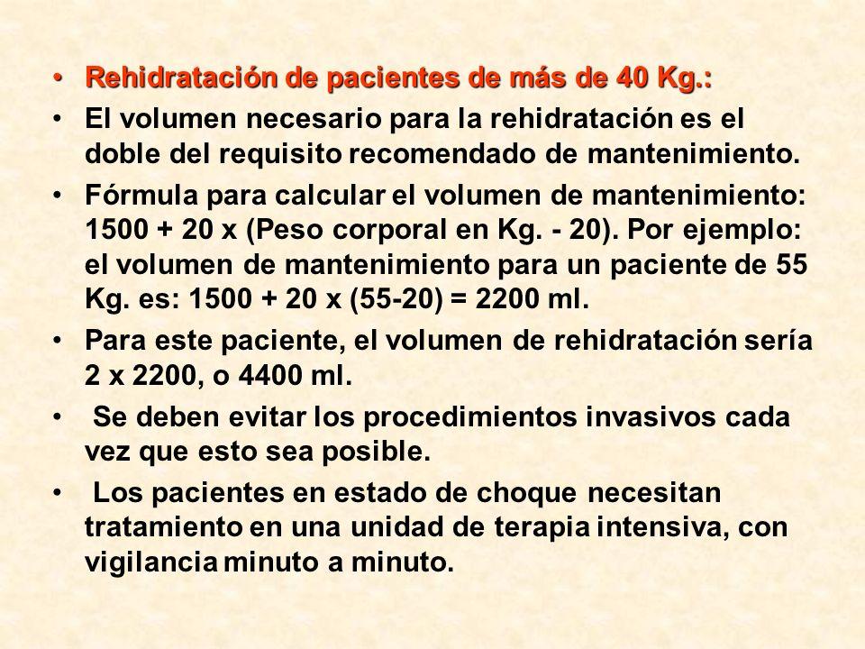 Rehidratación de pacientes de más de 40 Kg.: