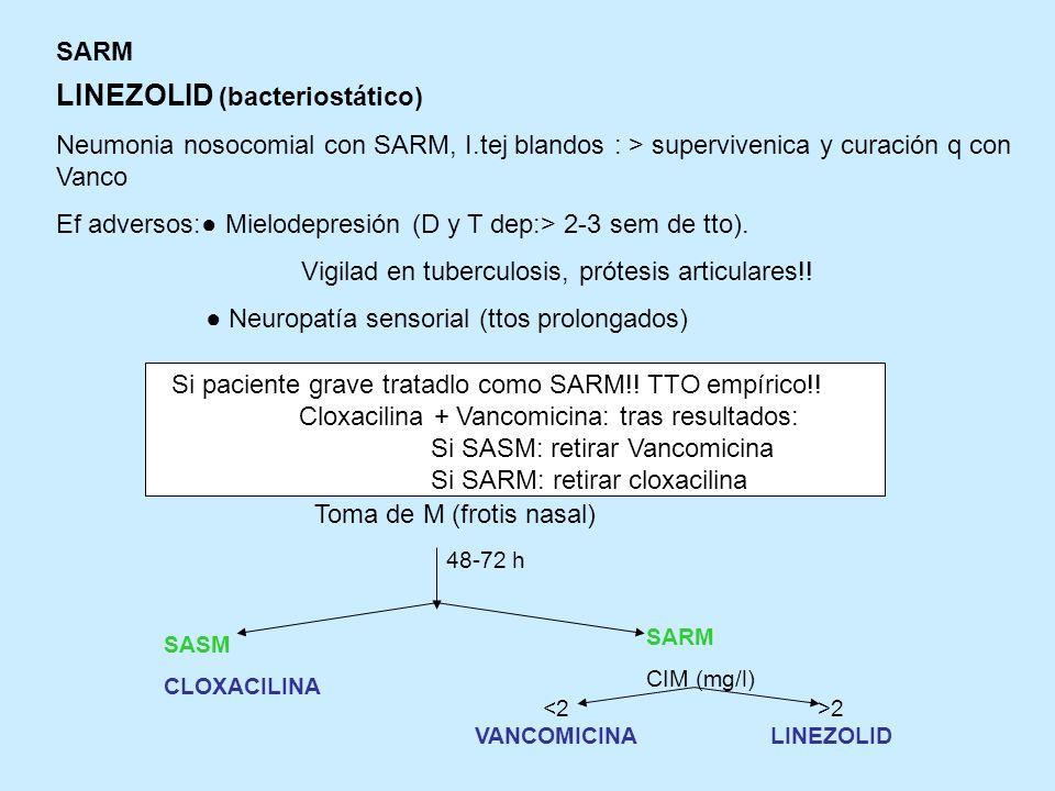 LINEZOLID (bacteriostático)