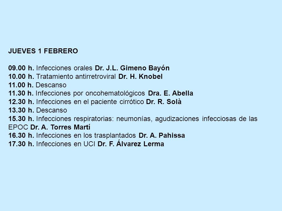 JUEVES 1 FEBRERO 09.00 h. Infecciones orales Dr. J.L. Gimeno Bayón. 10.00 h. Tratamiento antirretroviral Dr. H. Knobel.