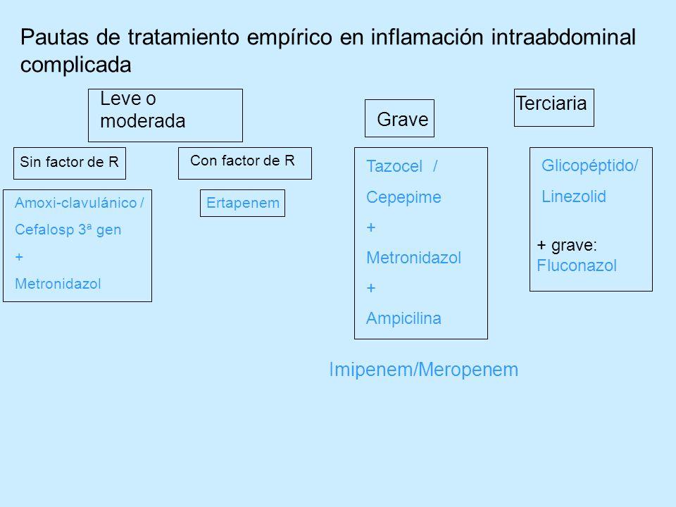 Pautas de tratamiento empírico en inflamación intraabdominal complicada