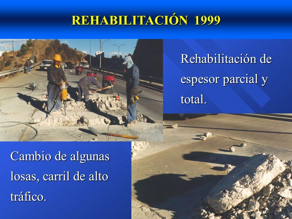 REHABILITACIÓN 1999 Rehabilitación de espesor parcial y total.