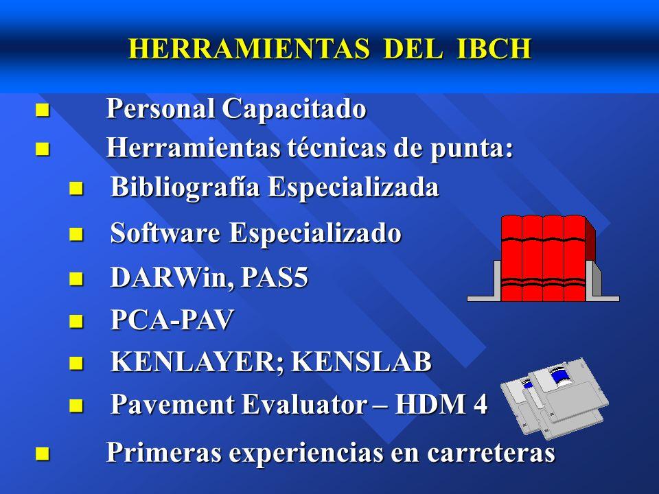 HERRAMIENTAS DEL IBCH Personal Capacitado. Herramientas técnicas de punta: Bibliografía Especializada.