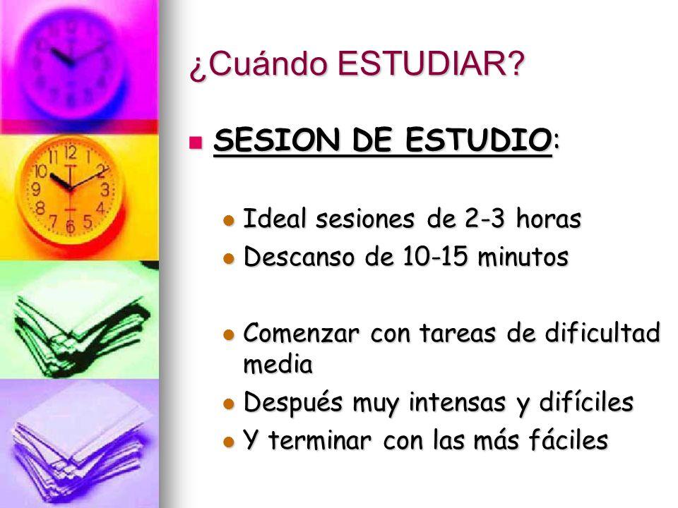 ¿Cuándo ESTUDIAR SESION DE ESTUDIO: Ideal sesiones de 2-3 horas