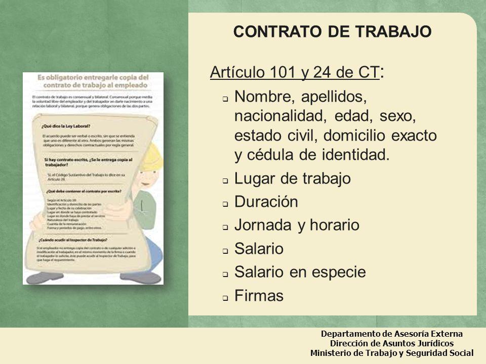 CONTRATO DE TRABAJO Artículo 101 y 24 de CT: