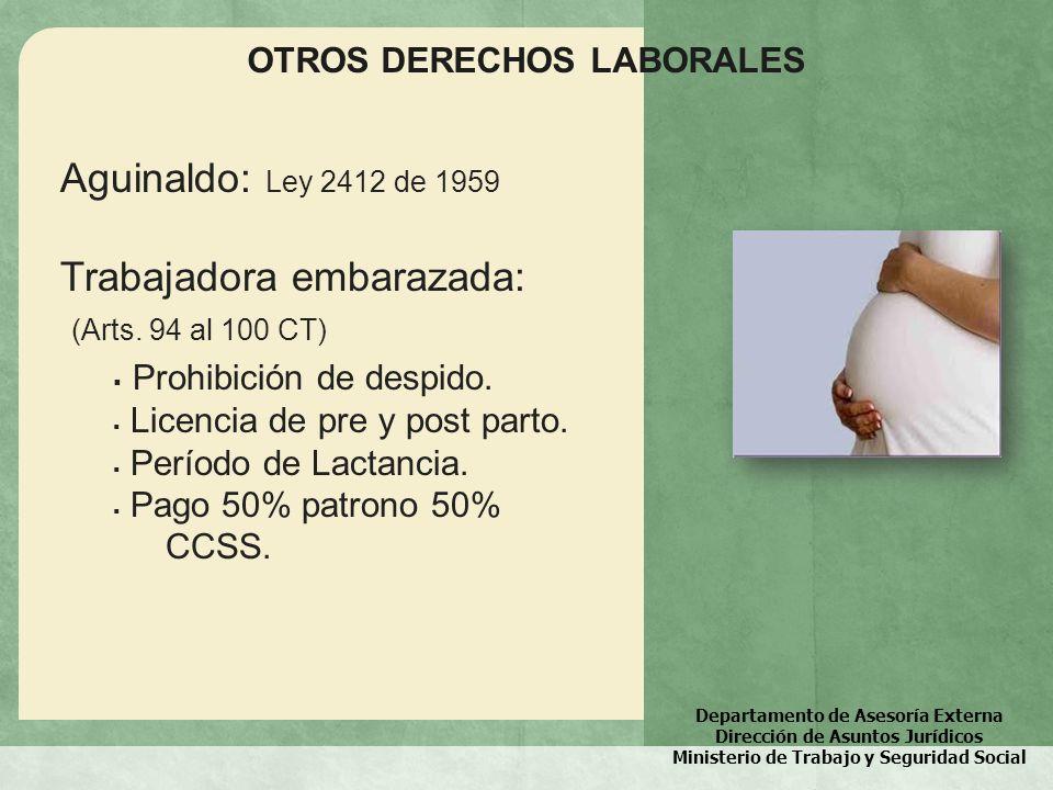 Trabajadora embarazada: (Arts. 94 al 100 CT) Prohibición de despido.
