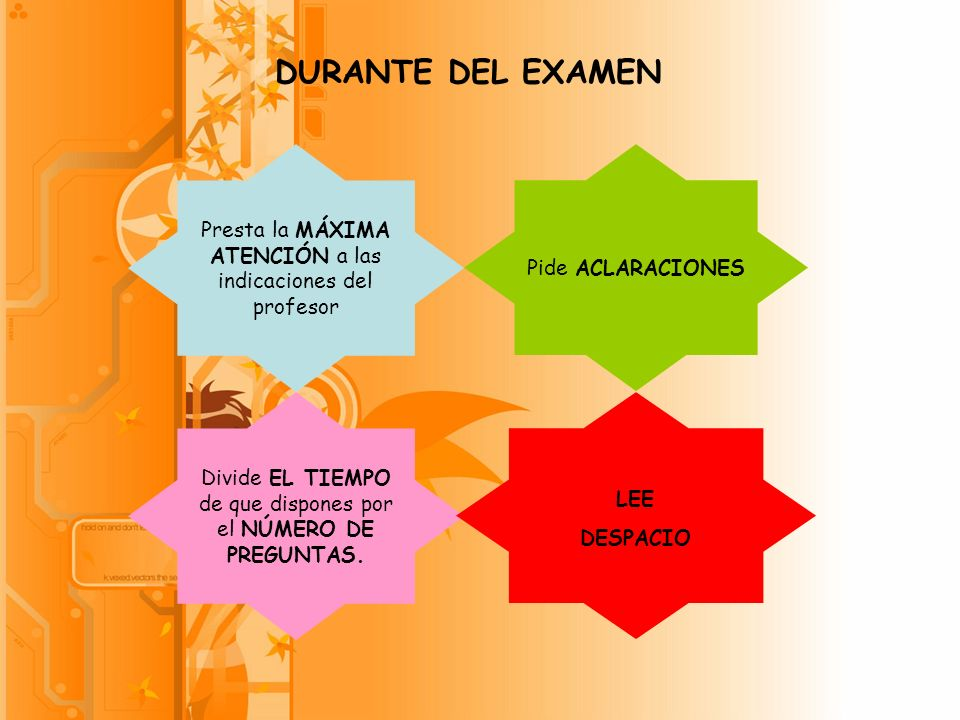 DURANTE DEL EXAMEN Presta la MÁXIMA ATENCIÓN a las indicaciones del profesor. Pide ACLARACIONES.