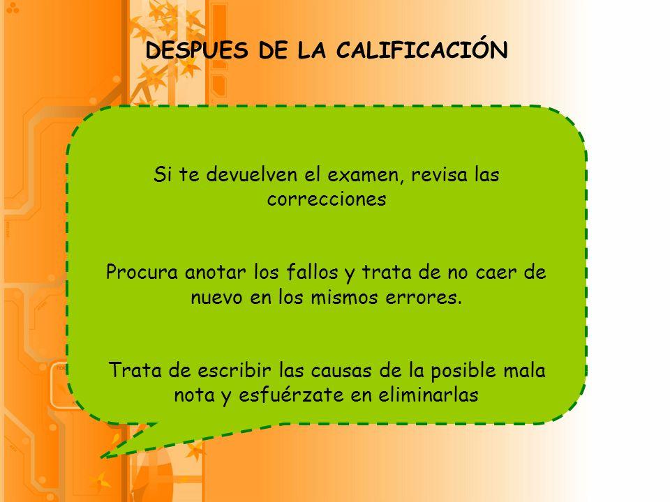 DESPUES DE LA CALIFICACIÓN