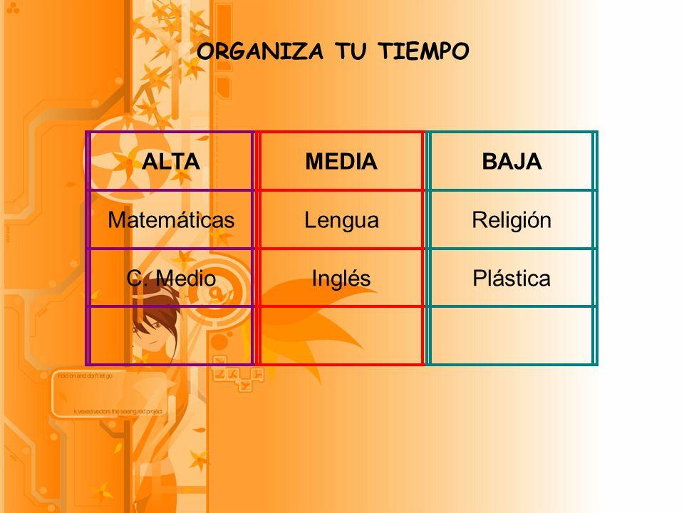 ORGANIZA TU TIEMPO ALTA Matemáticas C. Medio MEDIA Lengua Inglés BAJA