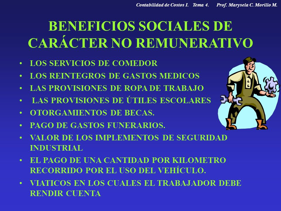 BENEFICIOS SOCIALES DE CARÁCTER NO REMUNERATIVO