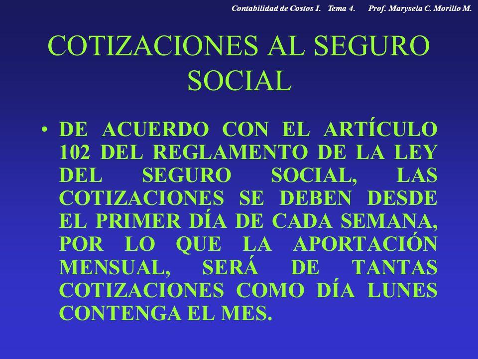 COTIZACIONES AL SEGURO SOCIAL