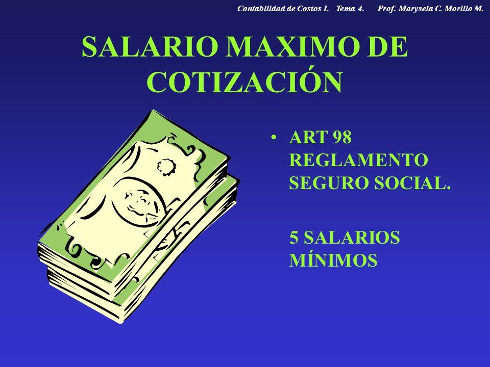 SALARIO MAXIMO DE COTIZACIÓN