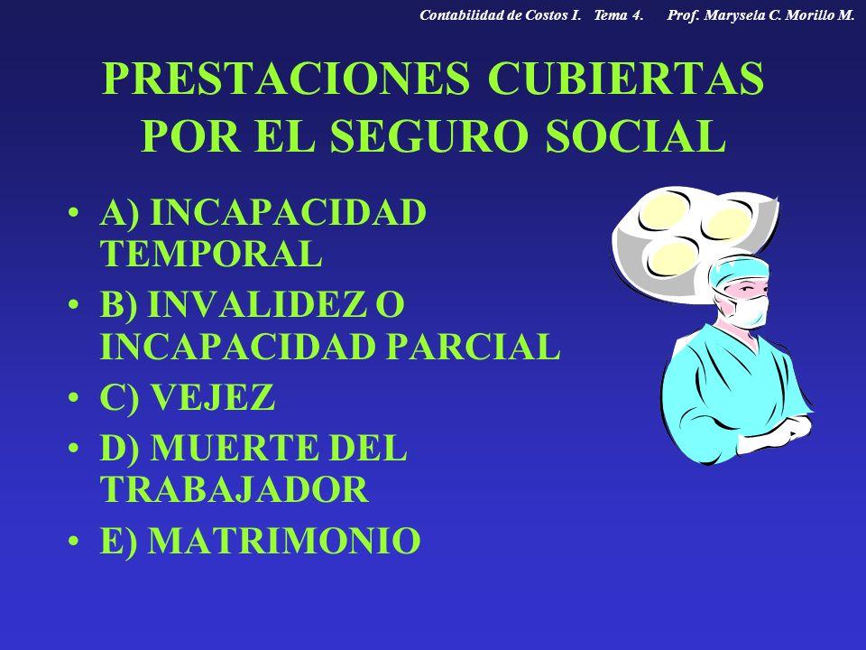 PRESTACIONES CUBIERTAS POR EL SEGURO SOCIAL