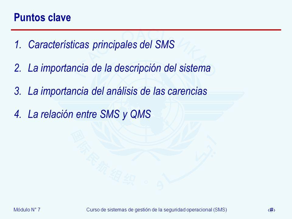 Puntos clave Características principales del SMS. La importancia de la descripción del sistema. La importancia del análisis de las carencias.