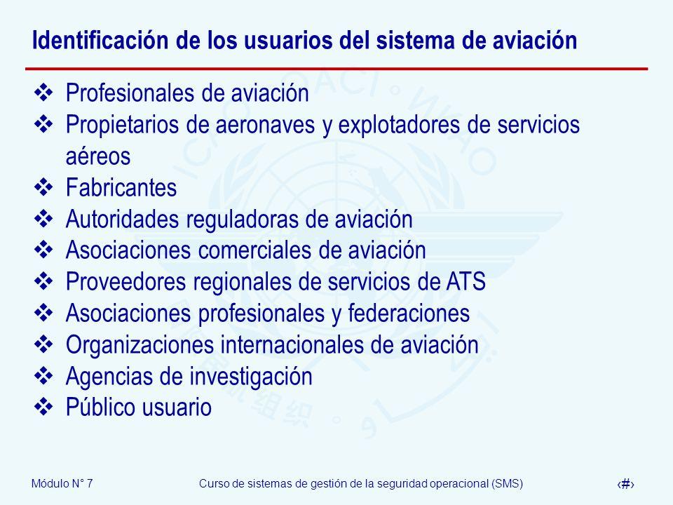 Identificación de los usuarios del sistema de aviación