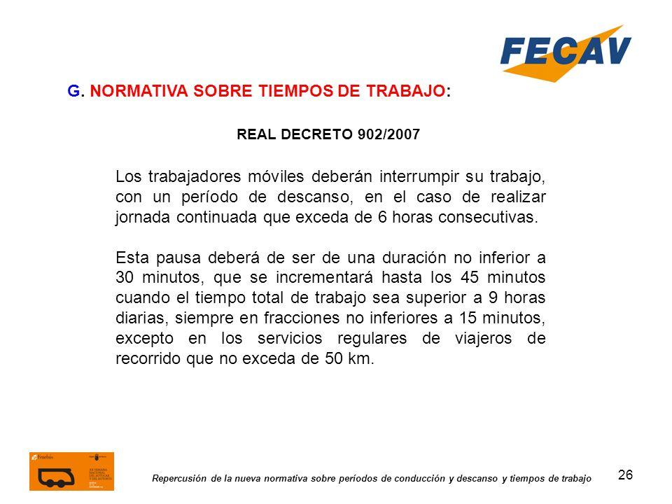 G. NORMATIVA SOBRE TIEMPOS DE TRABAJO: