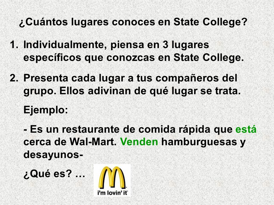 ¿Cuántos lugares conoces en State College
