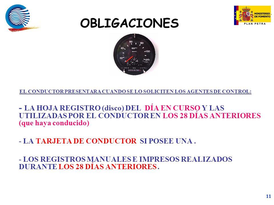 OBLIGACIONES EL CONDUCTOR PRESENTARA CUANDO SE LO SOLICITEN LOS AGENTES DE CONTROL: