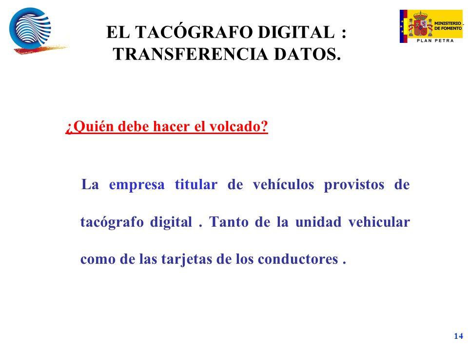 EL TACÓGRAFO DIGITAL : TRANSFERENCIA DATOS.