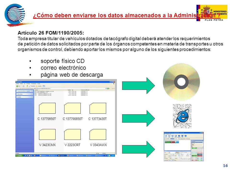 ¿Cómo deben enviarse los datos almacenados a la Administración