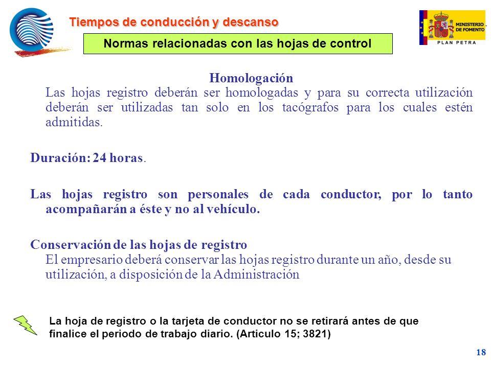 Normas relacionadas con las hojas de control