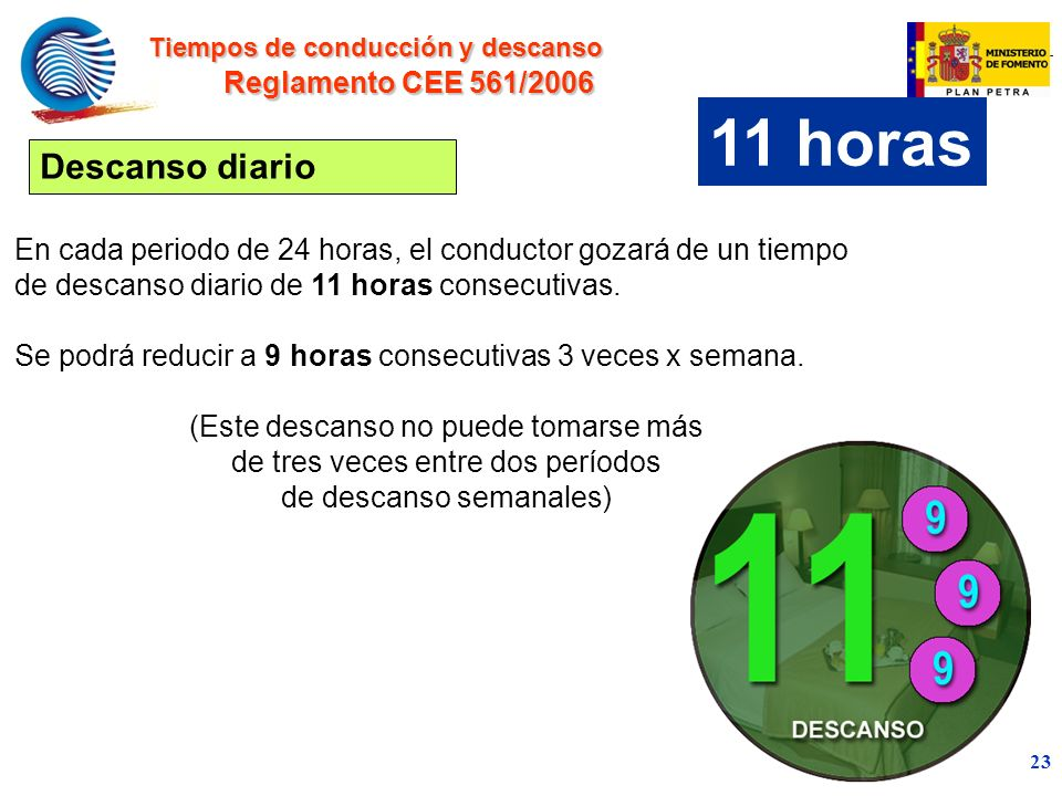 11 horas Descanso diario Reglamento CEE 561/2006