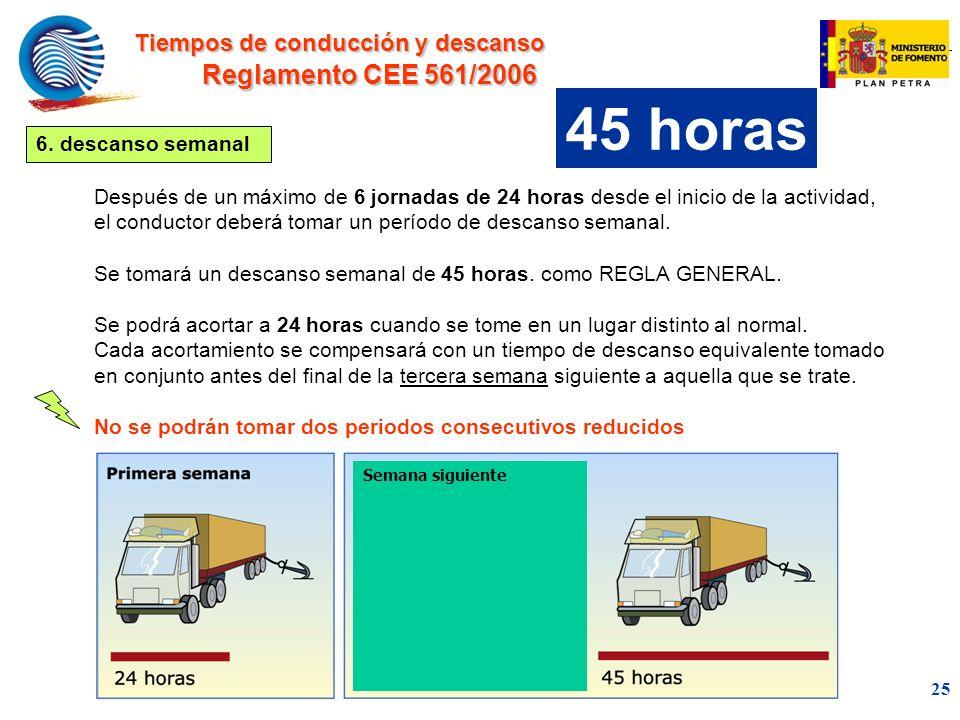 45 horas Reglamento CEE 561/2006 Tiempos de conducción y descanso