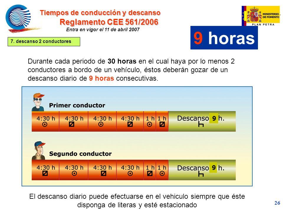 9 horas Reglamento CEE 561/2006 Tiempos de conducción y descanso