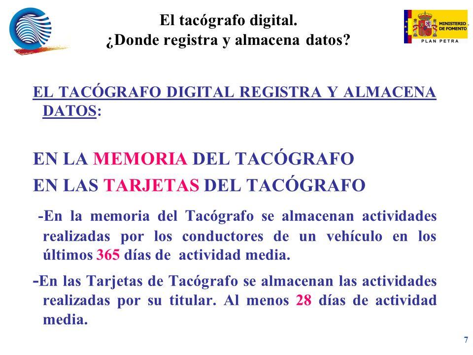El tacógrafo digital. ¿Donde registra y almacena datos