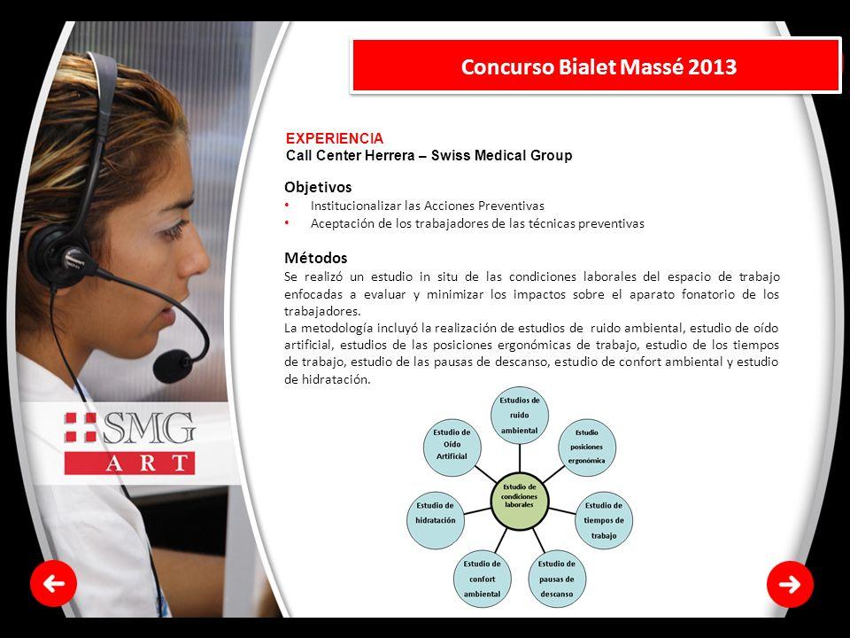 Concurso Bialet Massé 2013 Objetivos Métodos EXPERIENCIA