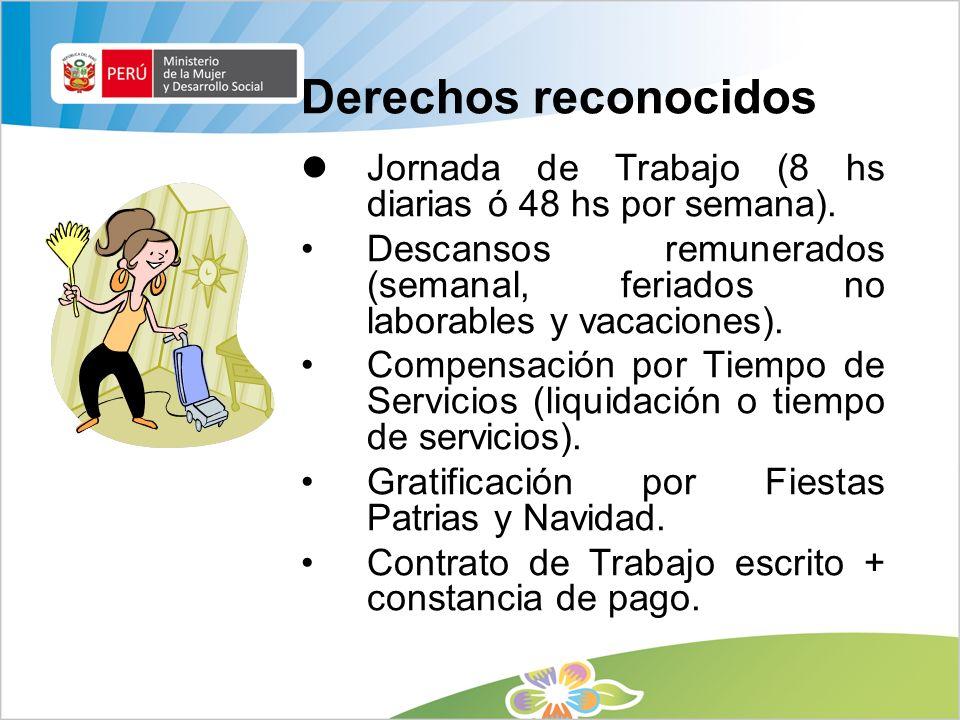 Derechos reconocidos Jornada de Trabajo (8 hs diarias ó 48 hs por semana). Descansos remunerados (semanal, feriados no laborables y vacaciones).