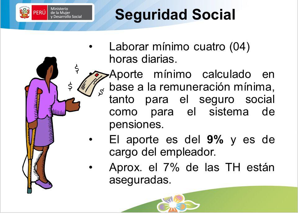 Seguridad Social Laborar mínimo cuatro (04) horas diarias.