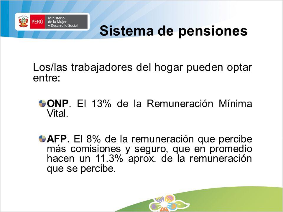 Sistema de pensiones Los/las trabajadores del hogar pueden optar entre: ONP. El 13% de la Remuneración Mínima Vital.