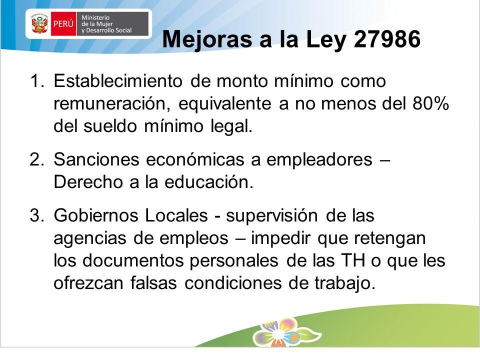 Mejoras a la Ley 27986 Establecimiento de monto mínimo como remuneración, equivalente a no menos del 80% del sueldo mínimo legal.
