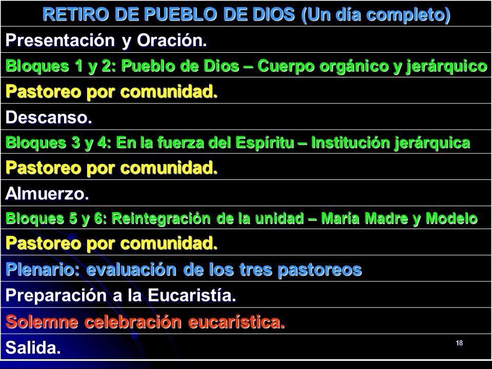 RETIRO DE PUEBLO DE DIOS (Un día completo)