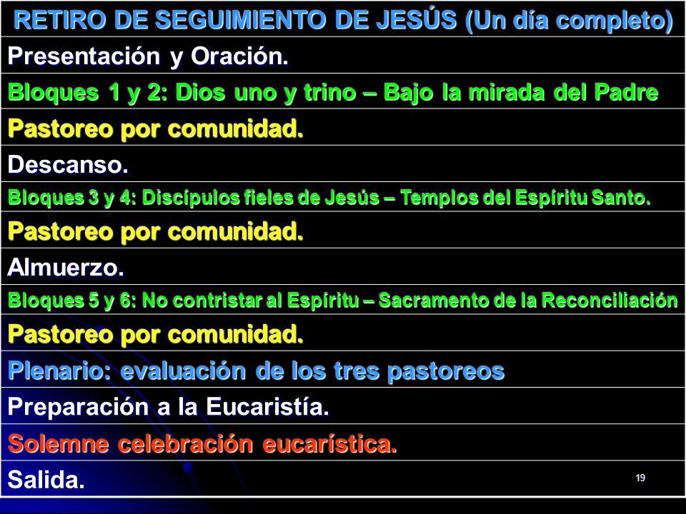 RETIRO DE SEGUIMIENTO DE JESÚS (Un día completo)