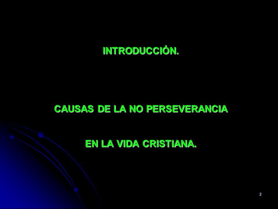 INTRODUCCIÓN. CAUSAS DE LA NO PERSEVERANCIA EN LA VIDA CRISTIANA.