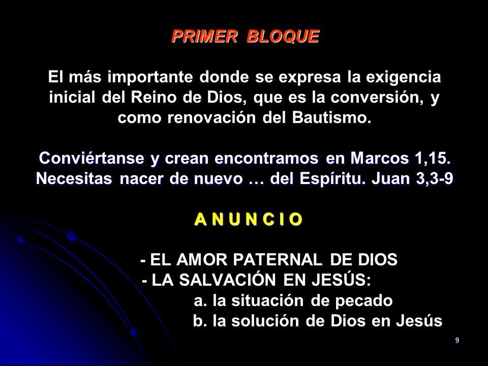 PRIMER BLOQUE El más importante donde se expresa la exigencia inicial del Reino de Dios, que es la conversión, y como renovación del Bautismo.