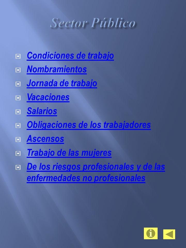 Sector Público Condiciones de trabajo Nombramientos Jornada de trabajo