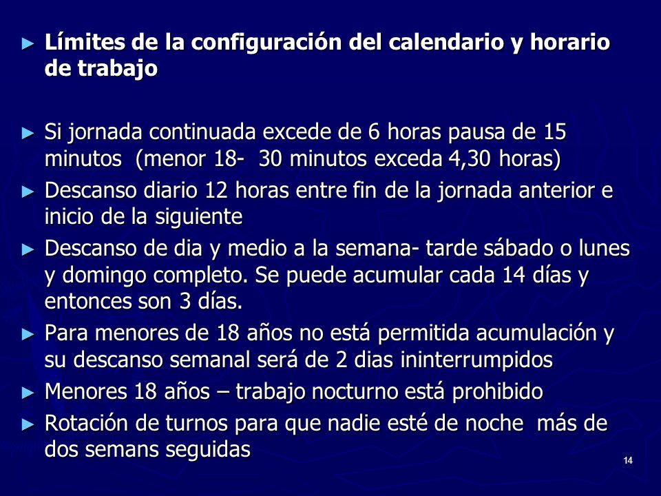 Límites de la configuración del calendario y horario de trabajo