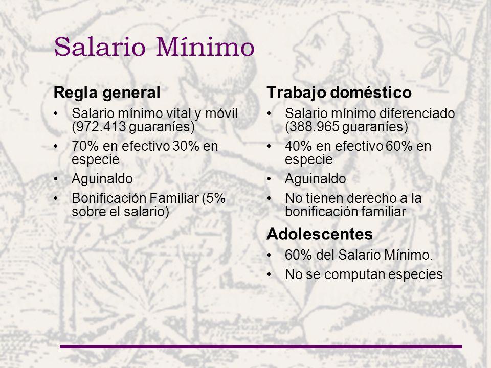 Salario Mínimo Regla general Trabajo doméstico Adolescentes